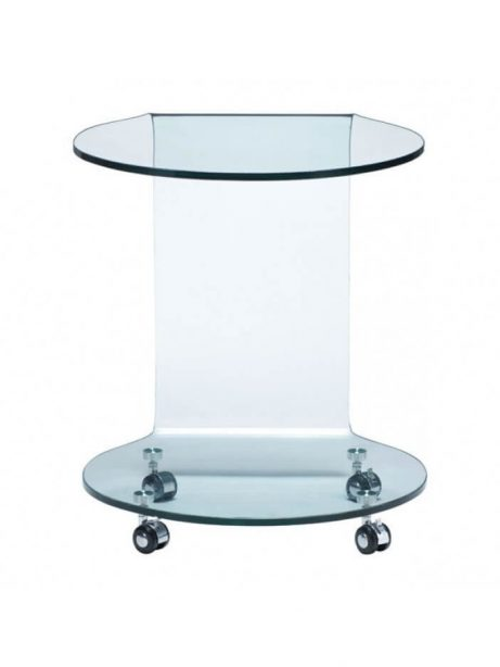 glass side table with wheels 461x614