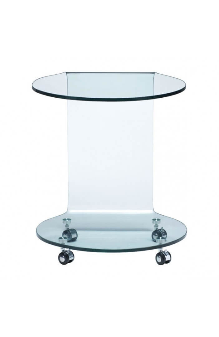 glass side table with wheels