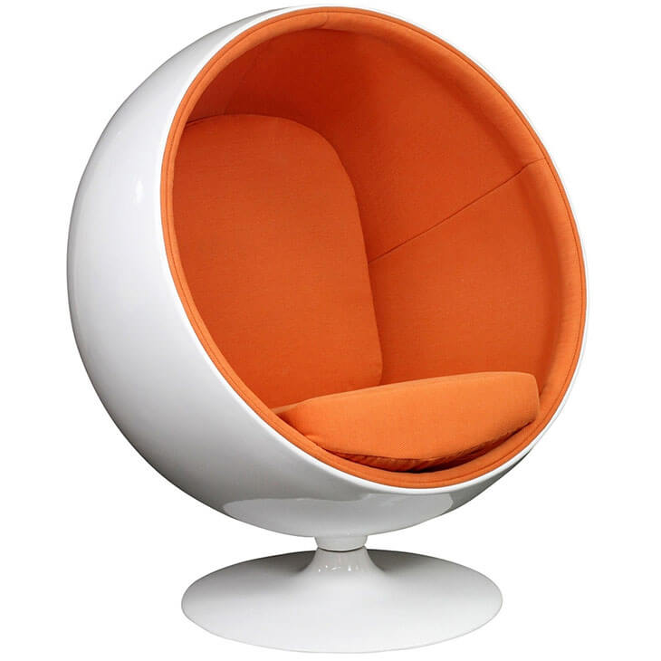 private space ball chair orange