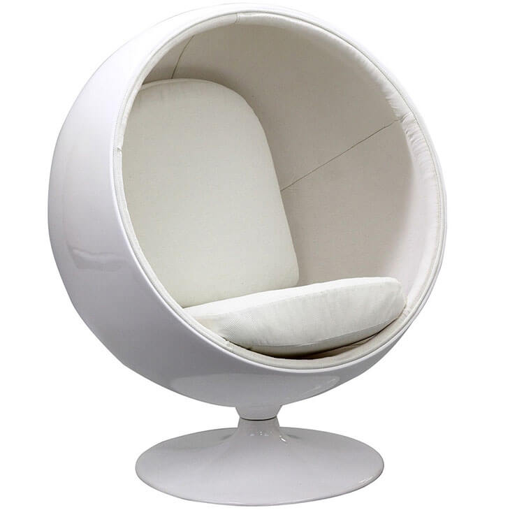 private space ball chair white 2