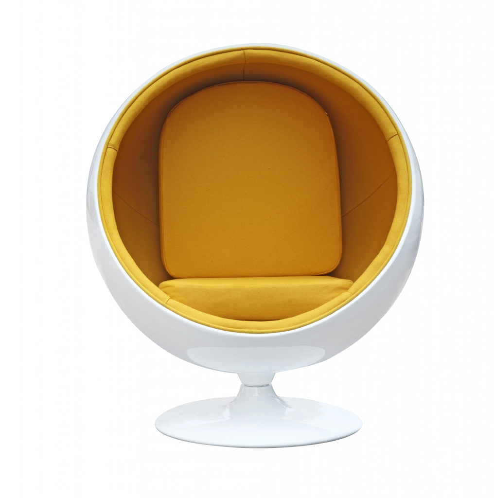 private space ball chair yellow