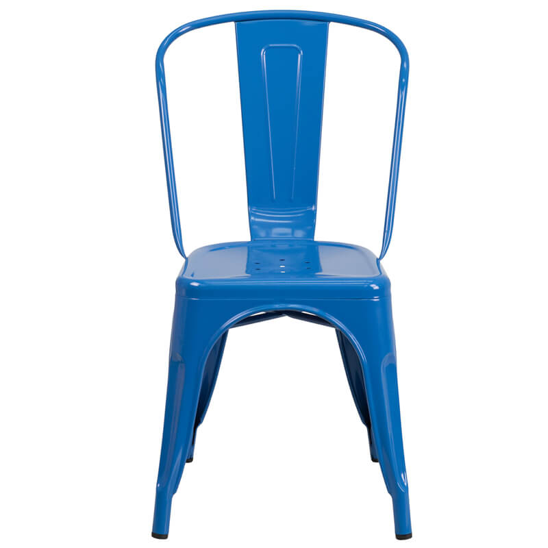 restaurant chair blue metal