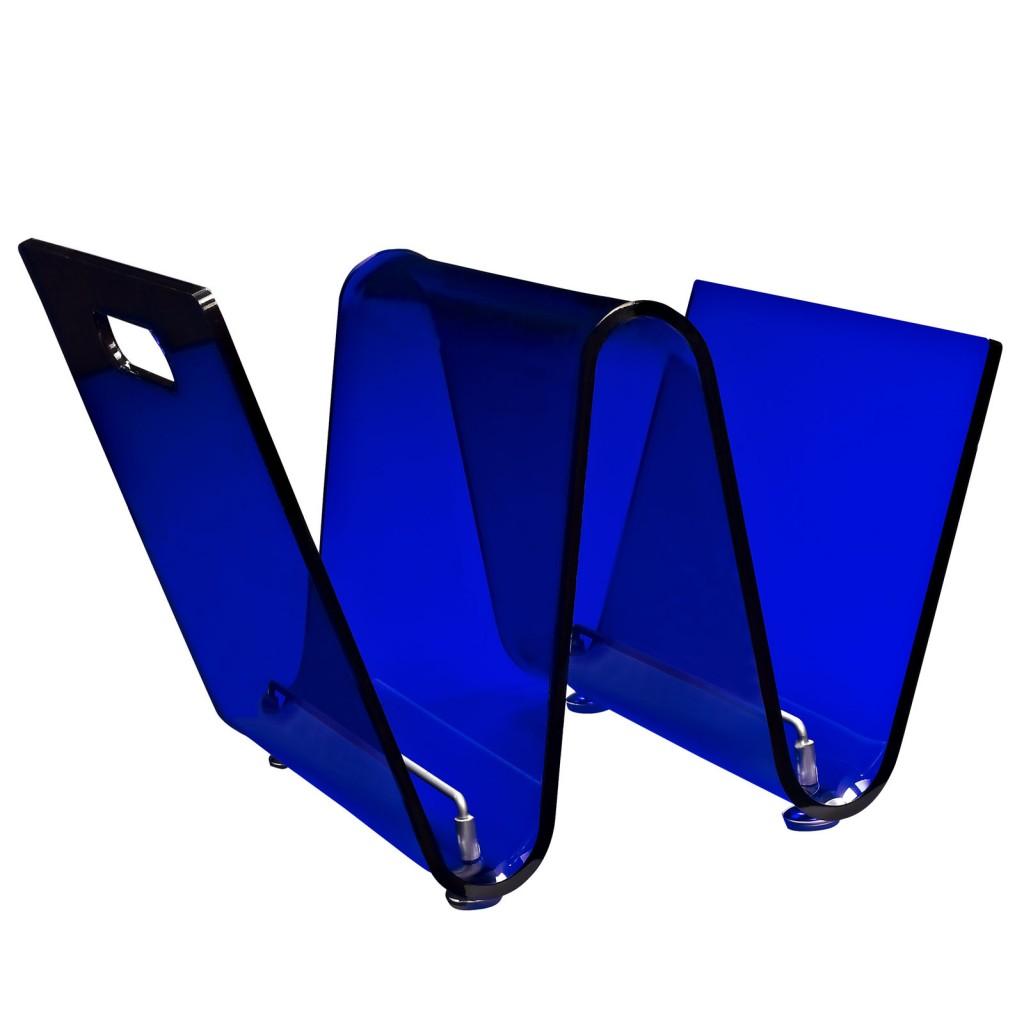 Blue Acrylic Wave Magazine Rack