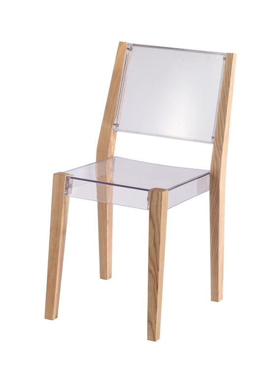 Clear Wood Square Chair 2