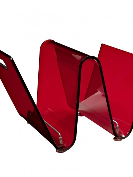 Red Acrylic Wave Magazine Rack 461x614
