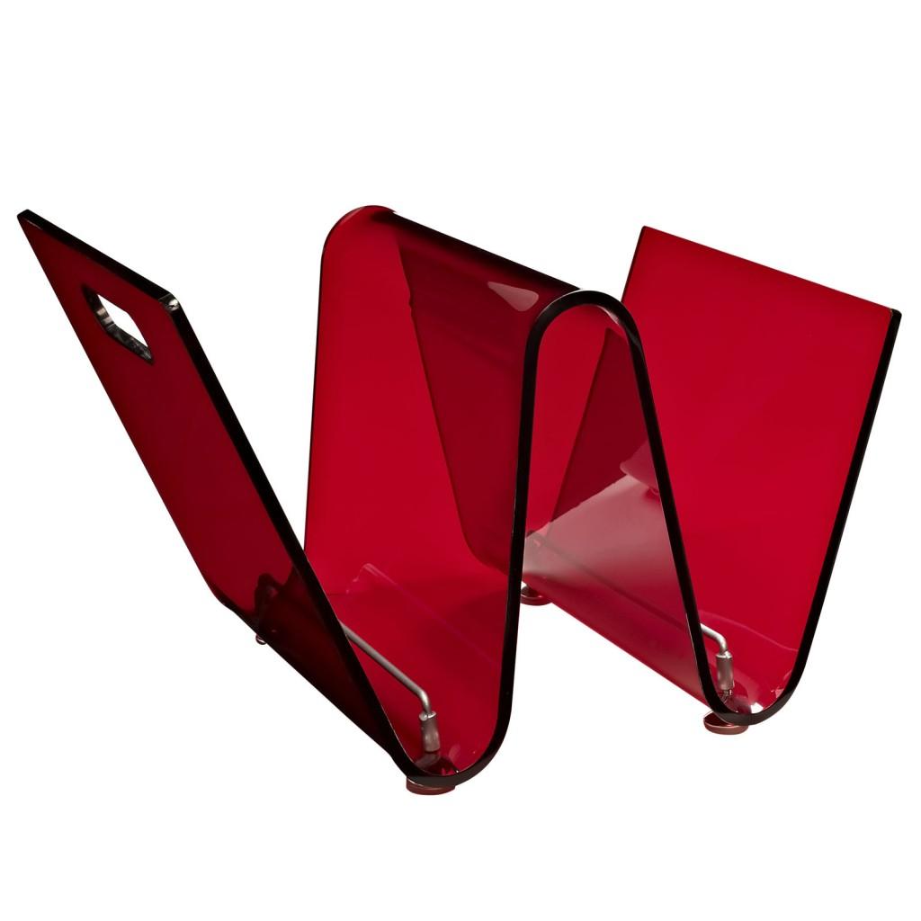 Red Acrylic Wave Magazine Rack