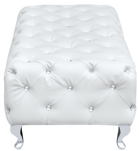 White Leather Jeweled Bench 4 461x501