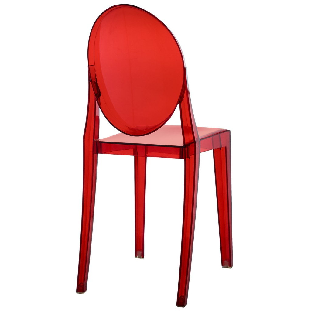 Red Transparent Throne Side Chair 4