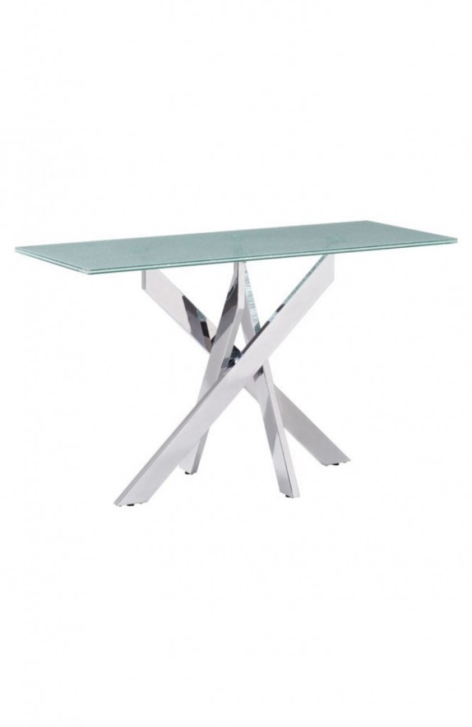 Regency Glass Chrome Console Table 2