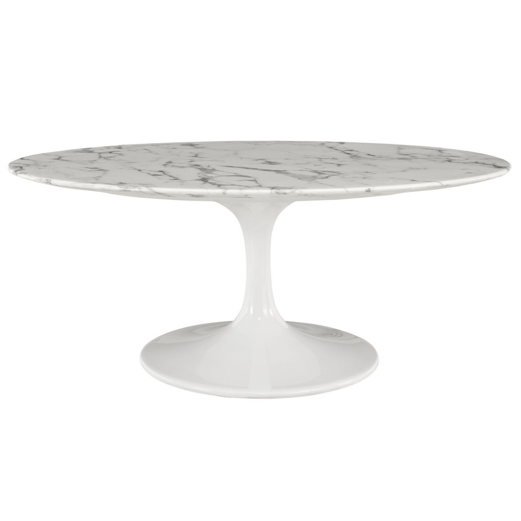 White Brilliant Marble Oval Dining Table 78