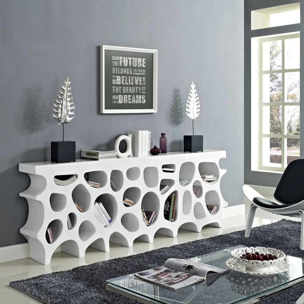 modern white console table. White Hive Console Table 3 Modern E