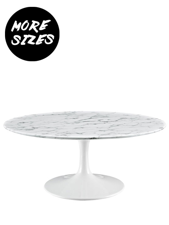 Brilliant Circle White Marble Coffee Table