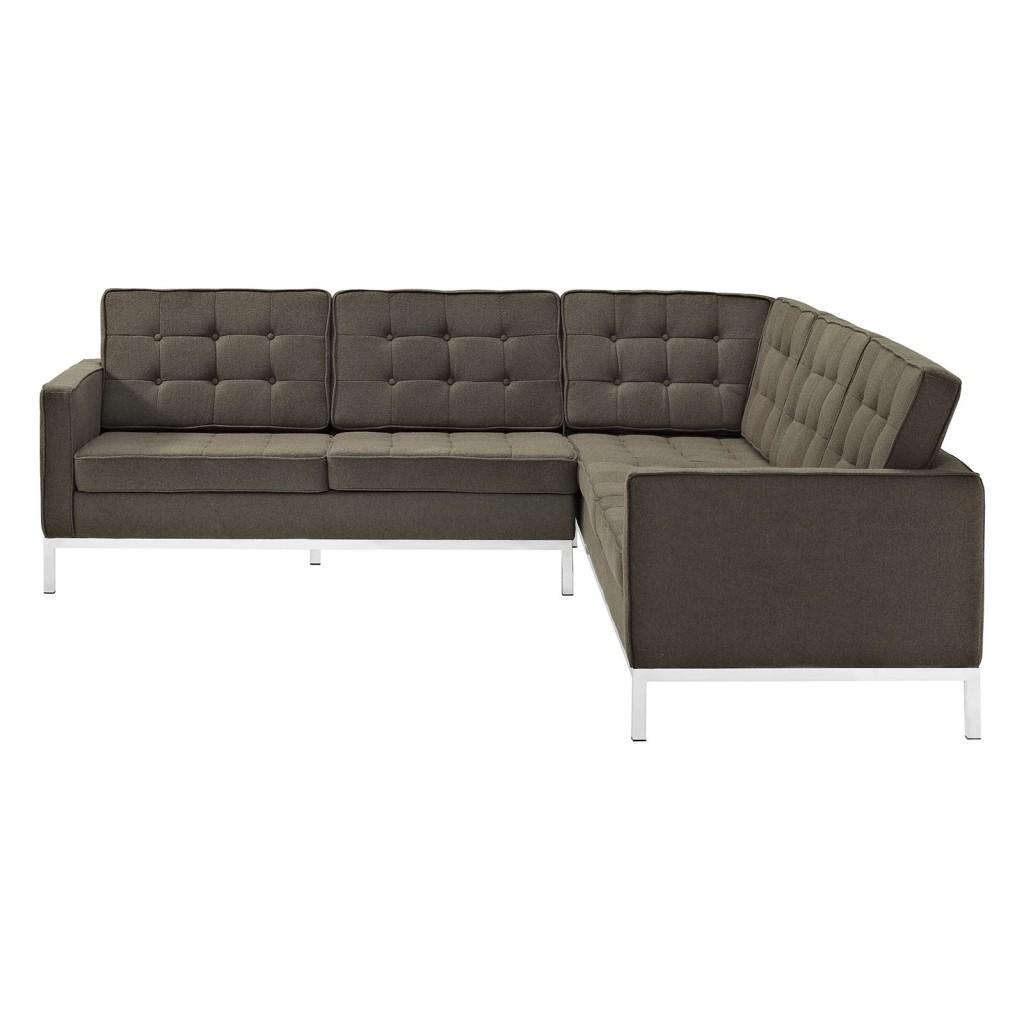Bateman Wool L Shaped Sectional Sofa Brown 3