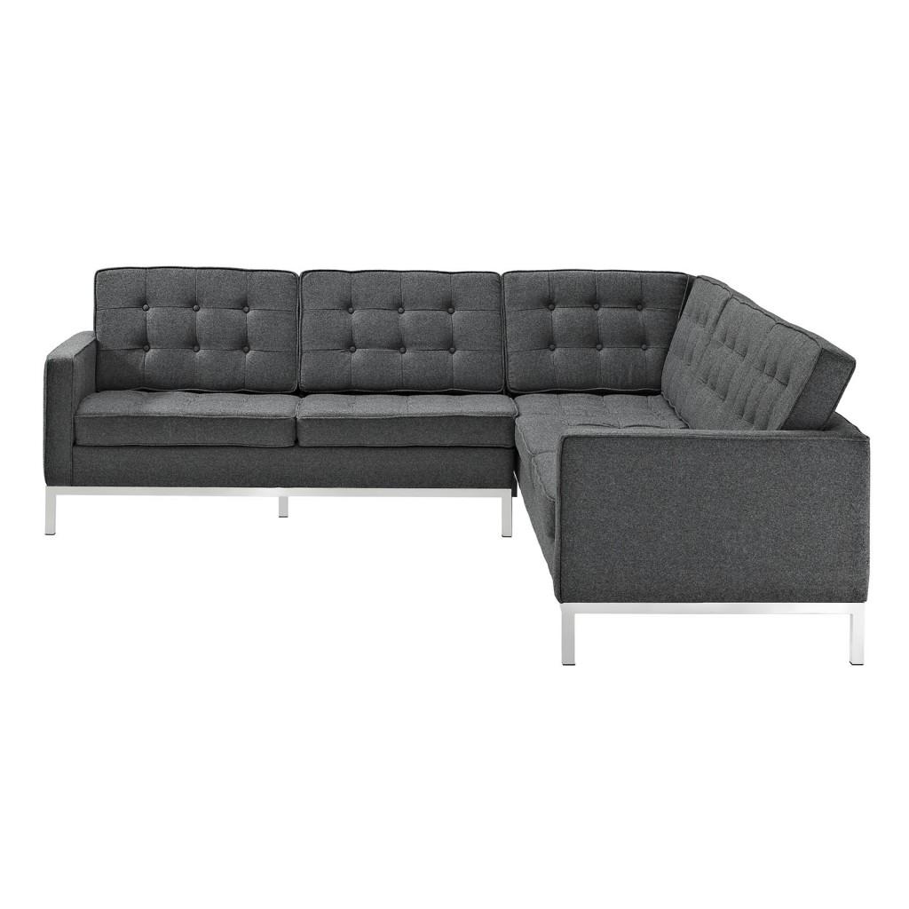 Bateman Wool L Shaped Sectional Sofa Dark Gray 3
