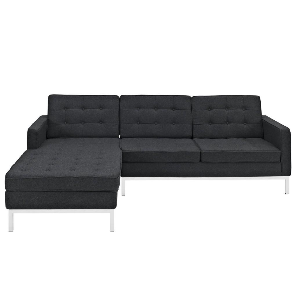 Bateman Wool Left Arm Sectional Sofa Dark Gray 2