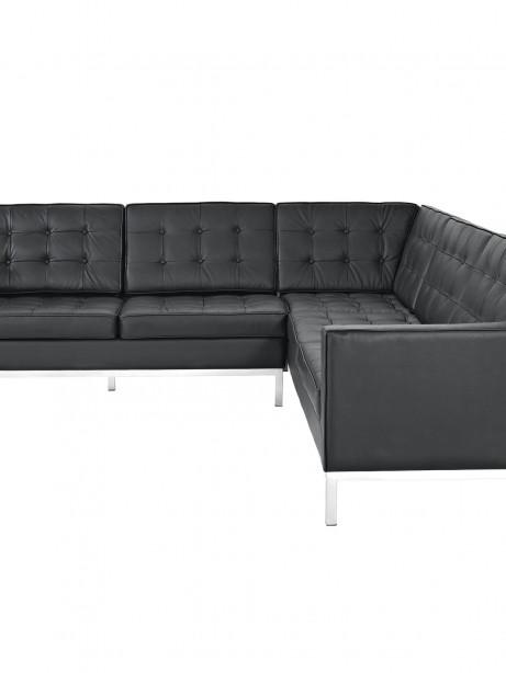 Black Bateman Leather L Shaped Sectional Sofa 1 461x614