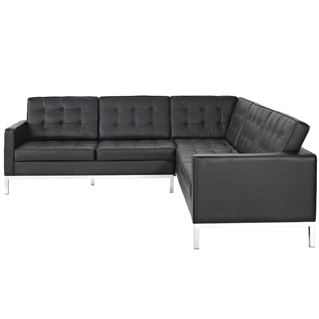 Black Bateman Leather L Shaped Sectional Sofa 1