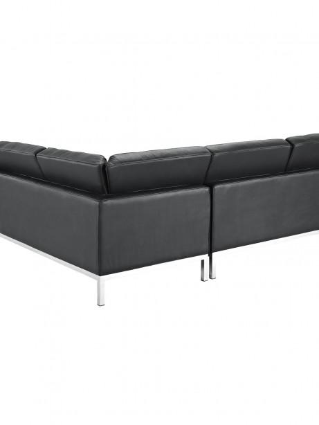 Black Bateman Leather L Shaped Sectional Sofa 2 461x614