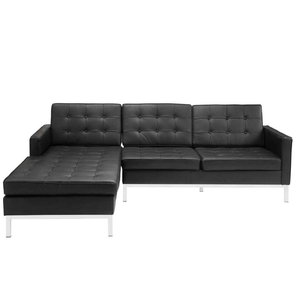 Black Bateman Leather Left Arm Sectional Sofa 1