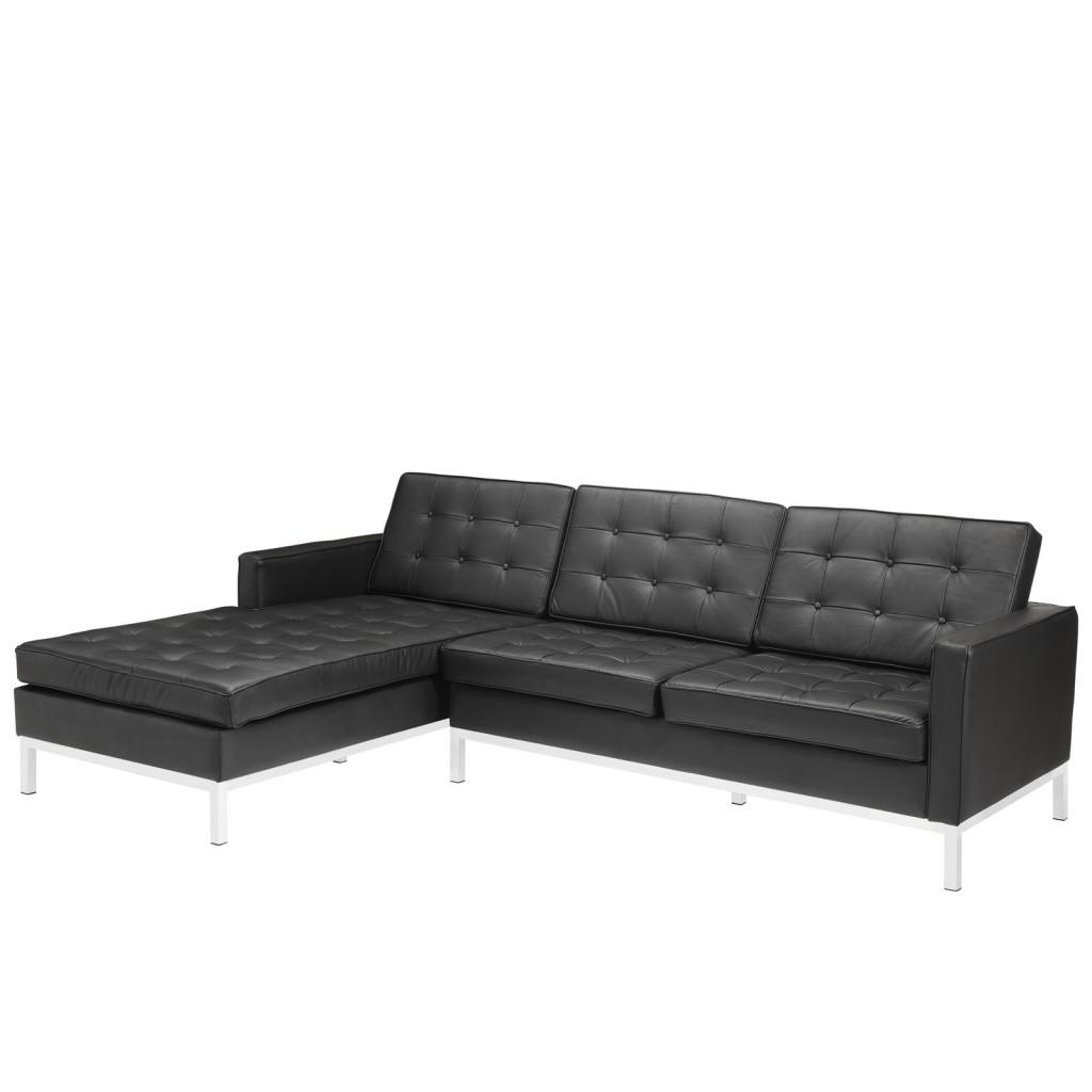Black Bateman Leather Left Arm Sectional Sofa