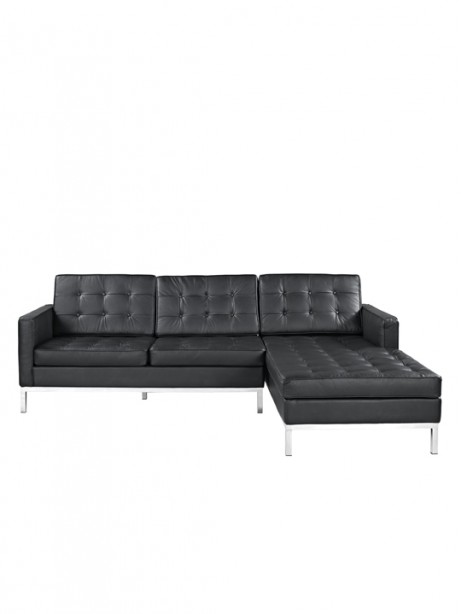 Black Bateman Leather Right Arm Sectional Sofa 1 461x614