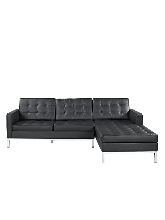 Black Bateman Leather Right Arm Sectional Sofa 1