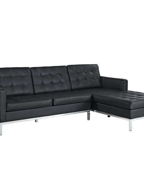 Black Bateman Leather Right Arm Sectional Sofa 461x614