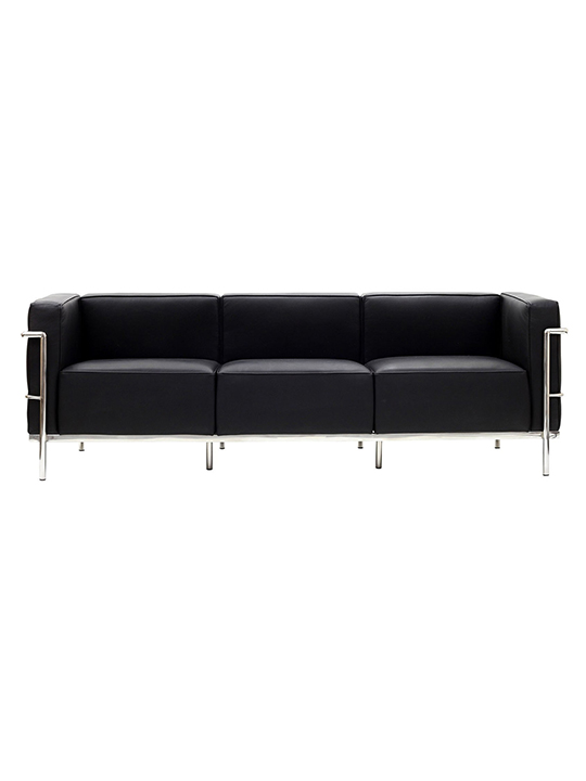 Black Simple Large Leather Sofa1