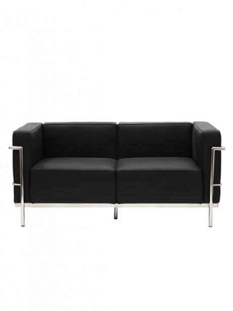 Black Simple Large Loveseat 461x614