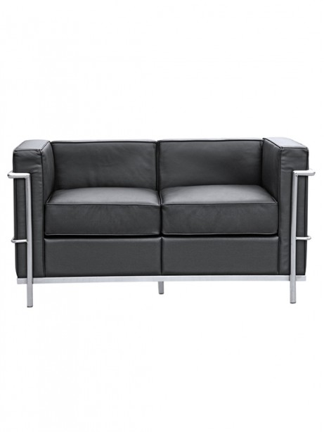 Black Simple Medium Leather Loveseat1 461x614