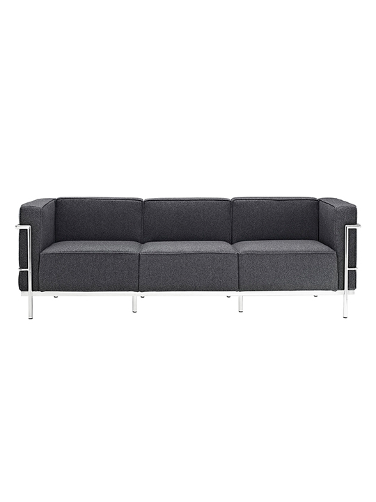 Dark Gray Simple Large Wool Sofa