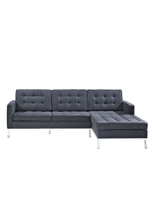Dark Grey Bateman Wool Right Arm Sectional