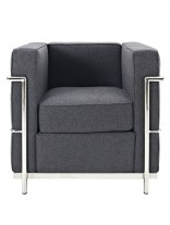 Dark Grey Simple Medium Wool Armchair 156x207