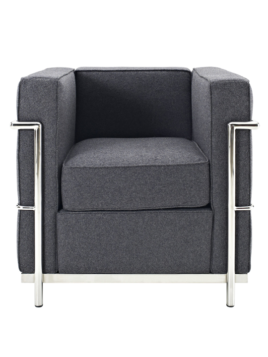 Dark Grey Simple Medium Wool Armchair