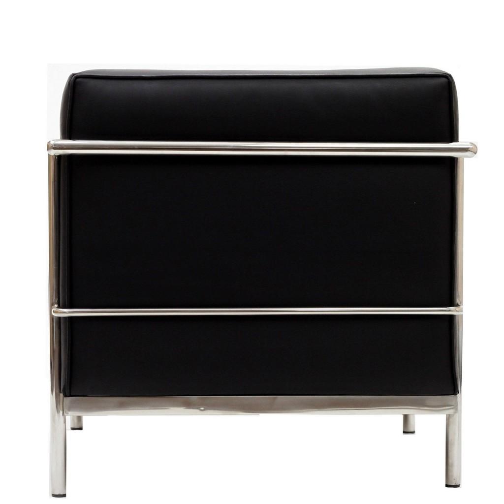 Simple Large Leather Armchair Black 1