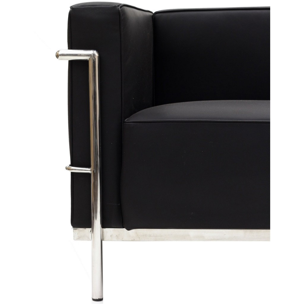 Simple Large Leather Armchair Black 3