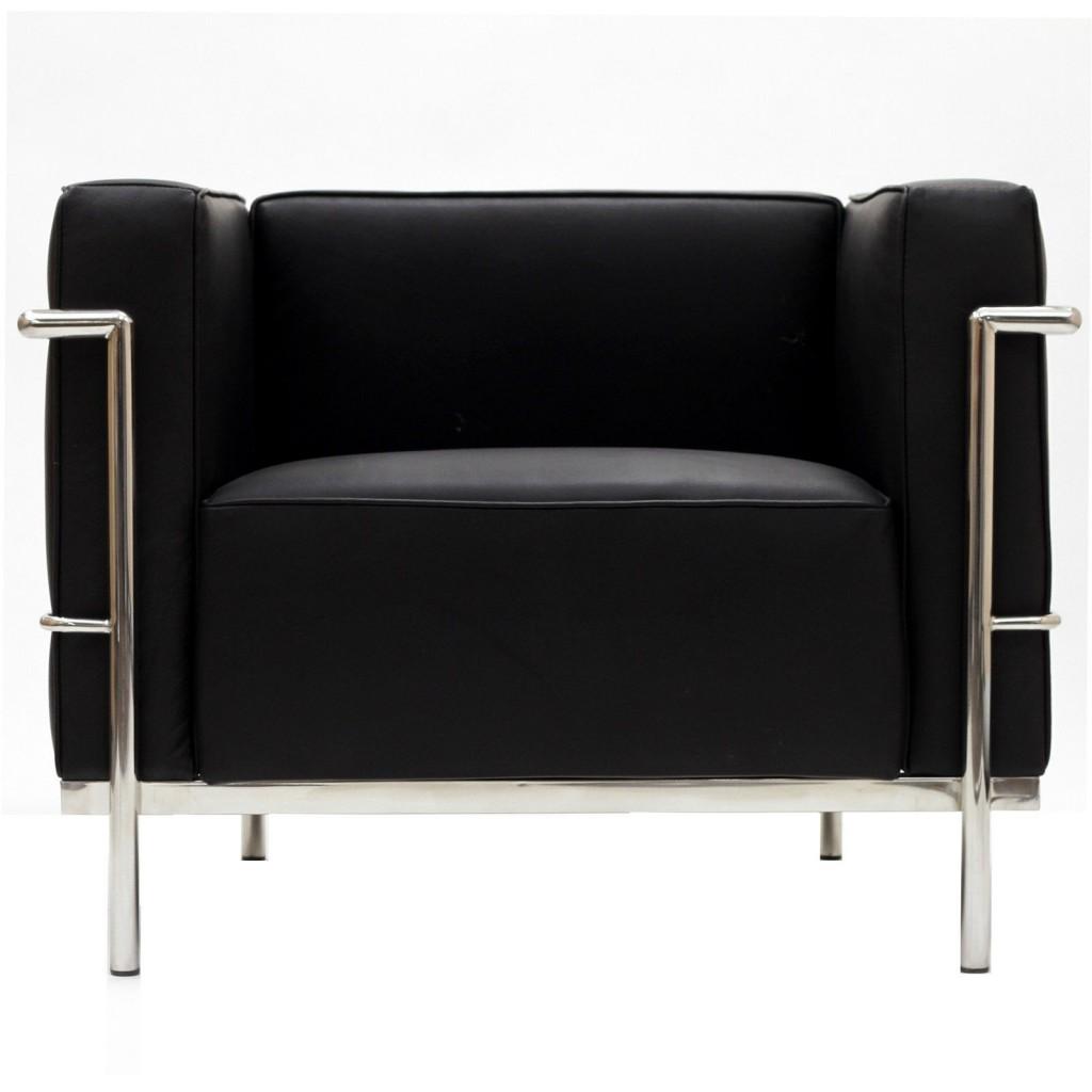 Simple Large Leather Armchair Black