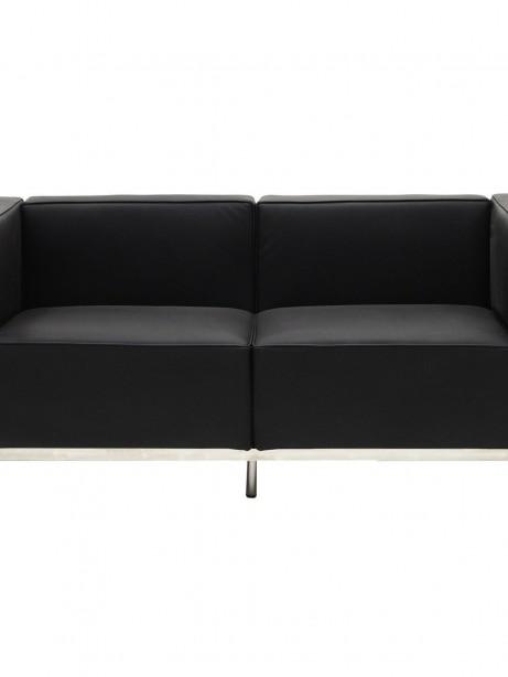 Simple Large Leather Loveseat Black 461x614