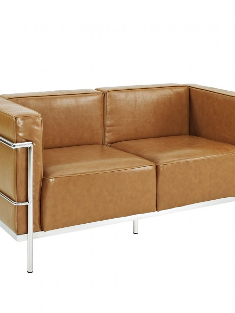 Simple Large Leather Loveseat Tan 1 461x614