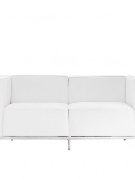 Simple Large Leather Loveseat White 1 461x614