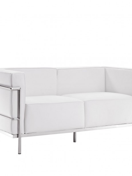 Simple Large Leather Loveseat White 461x614