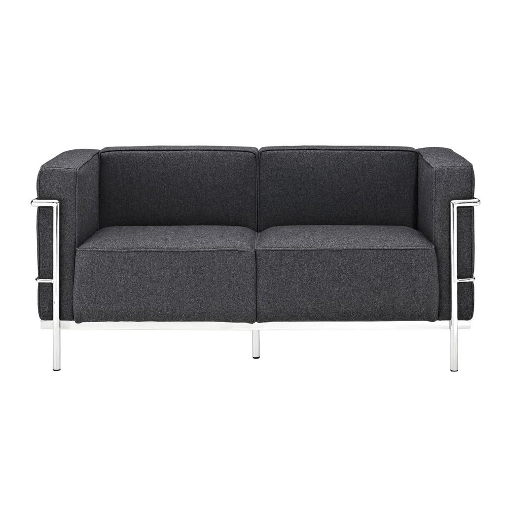Simple Large Wool Loveseat Dark Gray 1