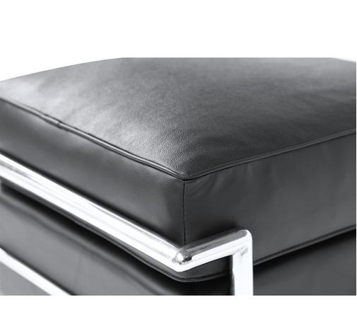 Simple Medium Leather Ottoman Black 4