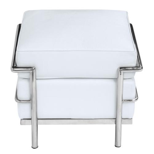 Simple Medium Leather Ottoman White 1