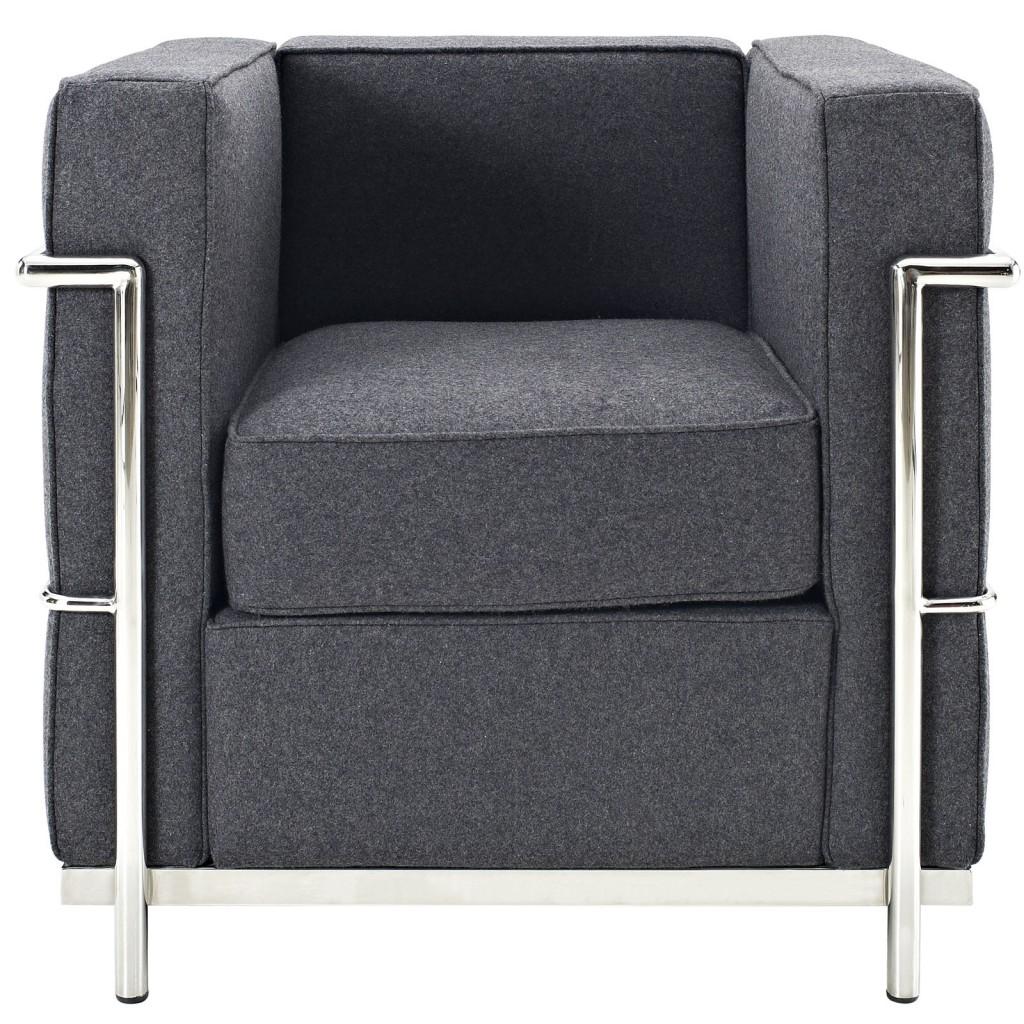 Simple Medium Wool Armchair Dark Gray 1