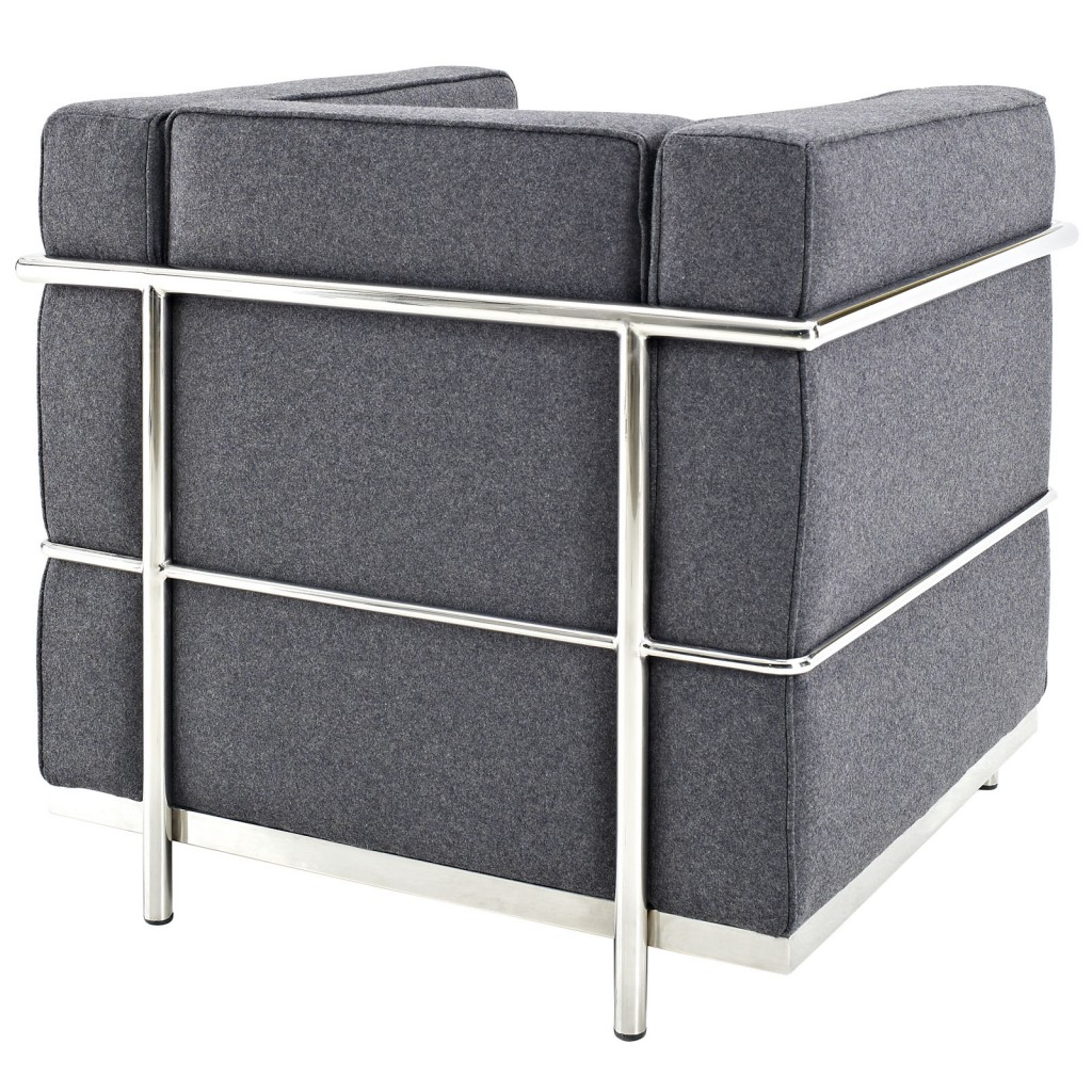Simple Medium Wool Armchair Dark Gray 2