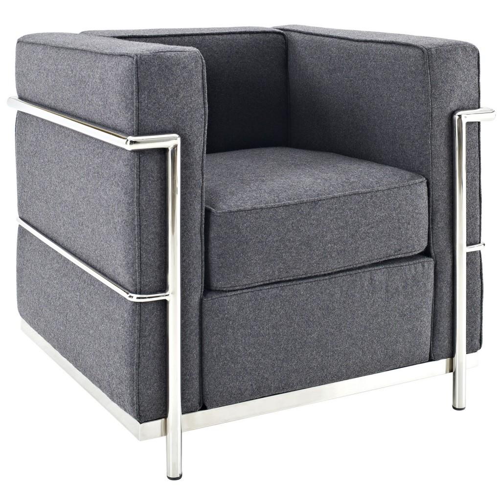Simple Medium Wool Armchair Dark Gray