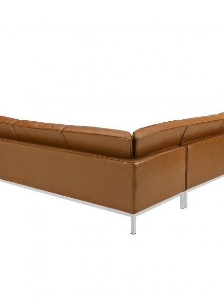 Tan Bateman Leather L Shaped Sectional Sofa 1 461x614