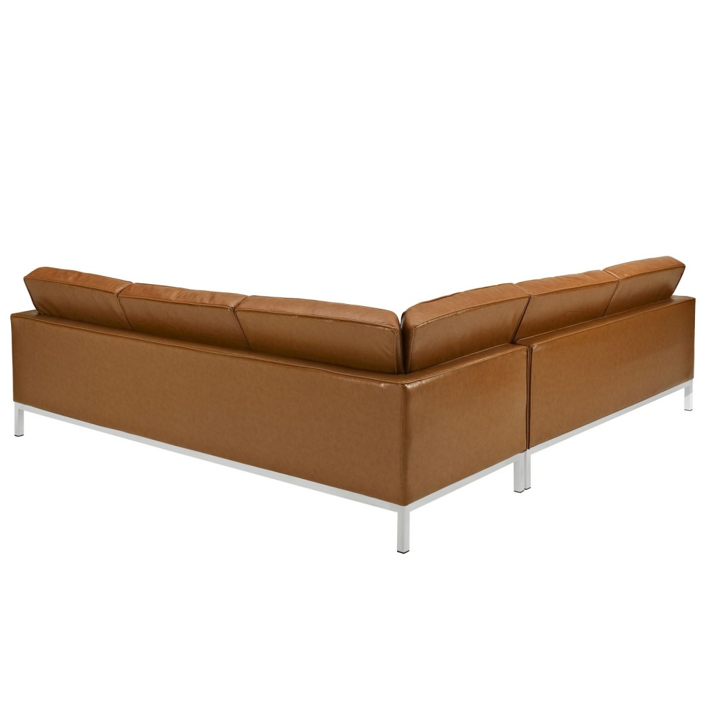 Tan Bateman Leather L Shaped Sectional Sofa 1