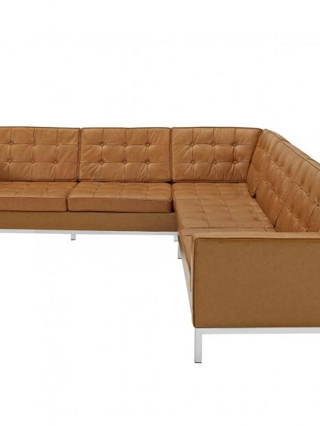 Tan Bateman Leather L Shaped Sectional Sofa 2 461x614